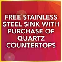 Free stainless steel sink with the purchase of quartz countertops during our National Gold Tag Sale.